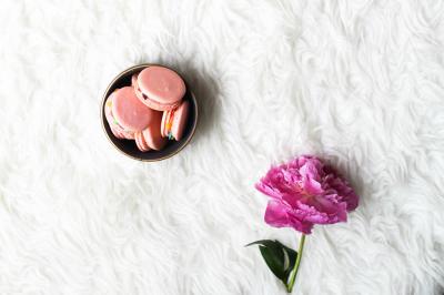 Pink Macaroons + Single Stem Peony Feminine Flatlay