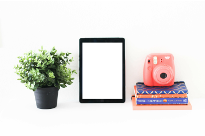 Polaroid Camera with iPad Mockup Styled Desktop