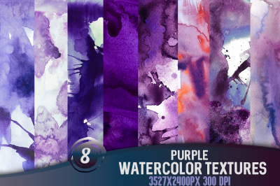 8 Purple watercolor textures, HQ 3527x2400px 300 DPI JPG