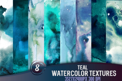 8 Teal watercolor textures, HQ 3527x2400px 300 DPI JPG
