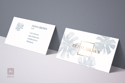 Feminine business card with Monstera