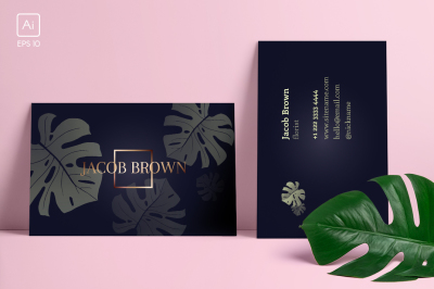 Men's business card with Monstera