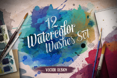 12 Watercolor Hand Drawn Washes