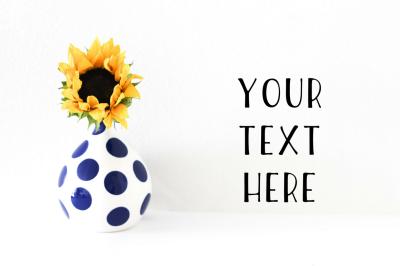 Sunflower & Polka Dot Vase Stock Photo