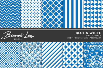 Blue & White Digital Paper