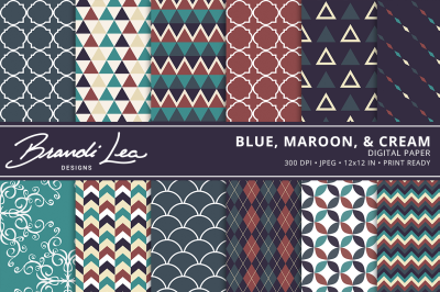 Blue Maroon & Cream Digital Paper