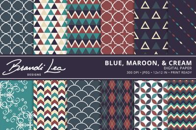 Blue Maroon & Cream Digital Paper