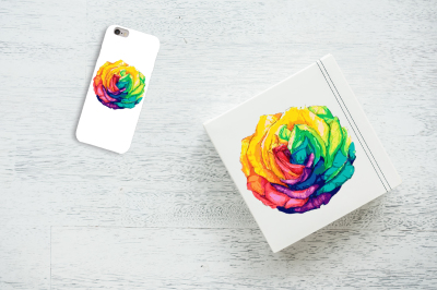 Hand drawn rainbow rose