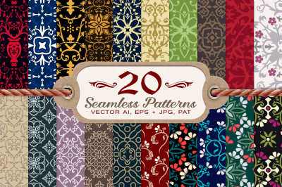 20 Damask and Floral Seamless Patterns