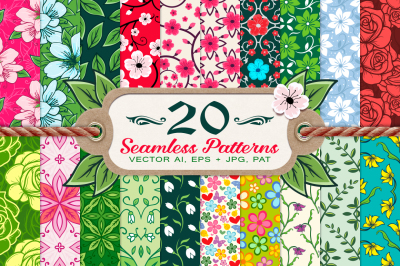 20 Spring Floral Seamless Patterns