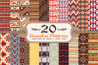 20 Tribal Vintage Seamless Patterns