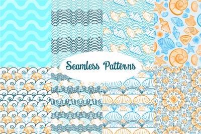 Summer: 8 seamless patterns