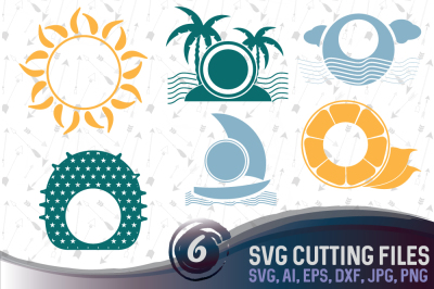 6 Summer vector designs and monogram templates - cutting files SVG, DXF, JPG, PNG, DWG, AI, EPS