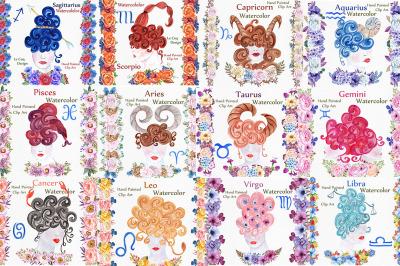 Watercolor zodiac signs clipart