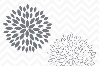 Svg Cuttables Spring Dahlia Mum Flowers Cut Files Set SDD002