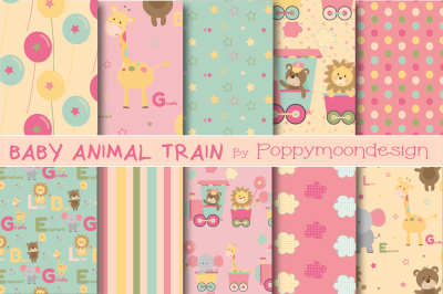 Baby animal train papers