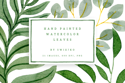 Watercolor Leaves, tropical set