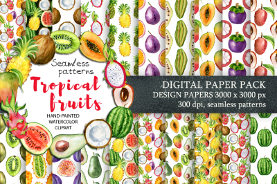 Digital paper Seamless pattern Watercolor tropical Fruits clipart