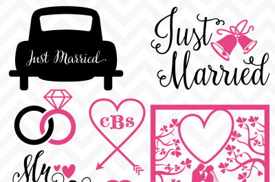 SVG DXF Just Married Wedding Cuttables