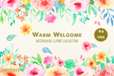 Watercolor Clipart Warm Welcome