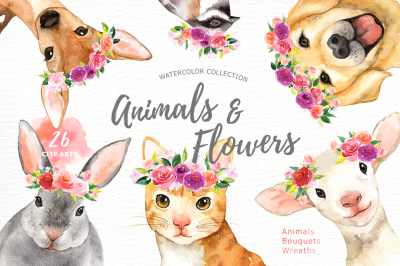Animals and Flowers Watercolor Clip Art