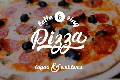 6 Pizza Lettering Logo