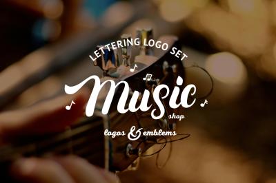 Music & Guitar Shop Logo Set