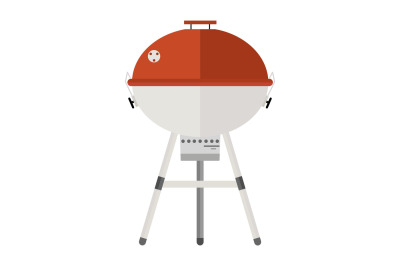 Grill cartoon image in flat style.. Barbecue. Grill icon isolated on white background. Color barbecue pictogram.