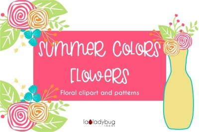 Summer colors flowers. Clip art and patterns set,