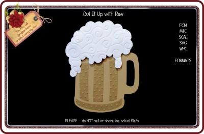 962 Beer Mug Topper & Card FCM MTC SCAL SVG
