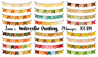 Watercolor Fall Bunting Clipart