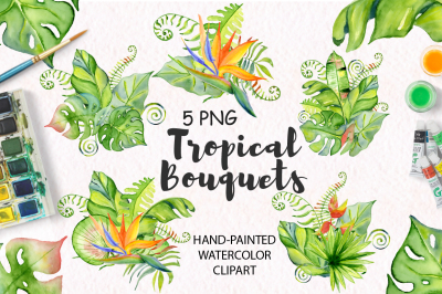 Tropical bouquets watercolor jungle clipart
