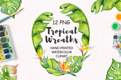 Tropical wreaths watercolor jungle clipart