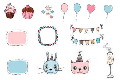 Happy birthday clipart set, Cute cat bunny clip art, bunting, cupcake