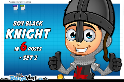Boy Black Knight Character - Set 2