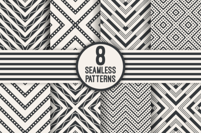 8 zigzag rhombus seamless patterns