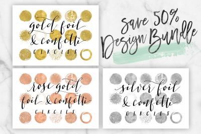 50% off Silver Foil, Rose Gold Foil & Gold Foil Circle Clip Art bundle