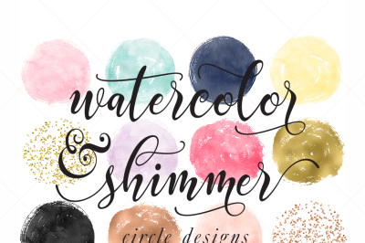 Watercolor & Rose Gold Foil Circle Designs Confetti Circles