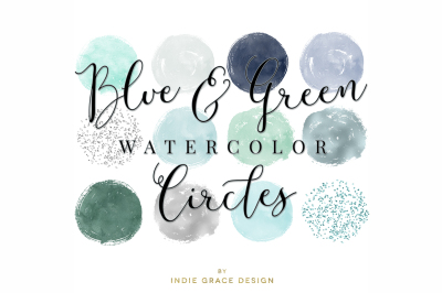 Blue & Green Watercolor Circle Shapes