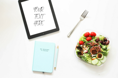 iPad with Salad + Motivational Journal