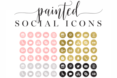 Painted & Gold Foil Social Icons - Social Media buttons