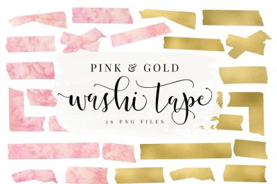 Pink Watercolor & Gold Foil Washi Tape