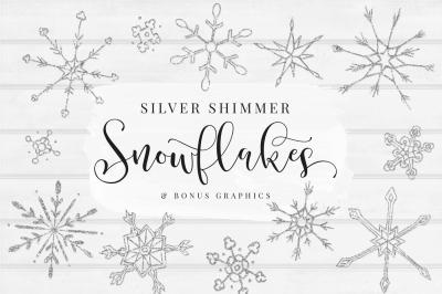 Gold Shimmer Snowflakes, Gold Glitter Snowflakes, Bonus Watercolor shapes & Gold Glitter Texture