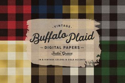 Vintage Buffalo Plaid digital papers - buffalo check