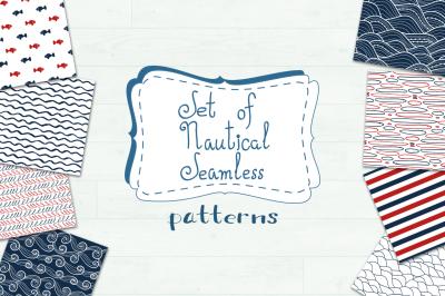 Set of 20 nautical seamless pattern