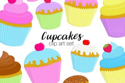 Cute Cupcakes Clipart Set