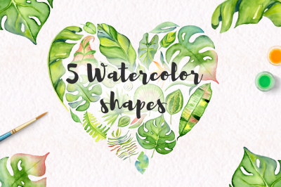 Tropical leaves watercolor shapes jungle clipart