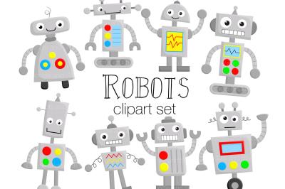 Robot Clipart Illustration Set