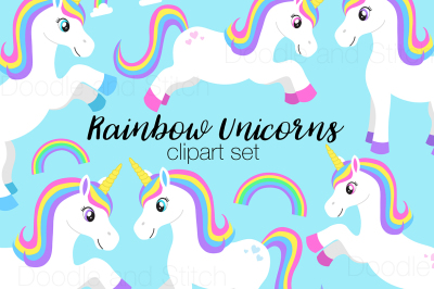 Rainbow Unicorn Clipart Set