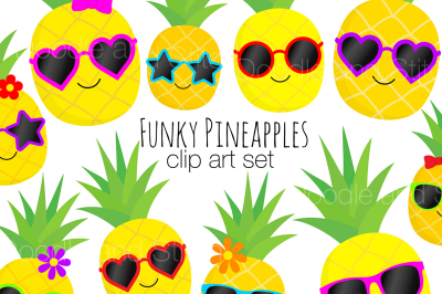 Funky Pineapple Clipart Set